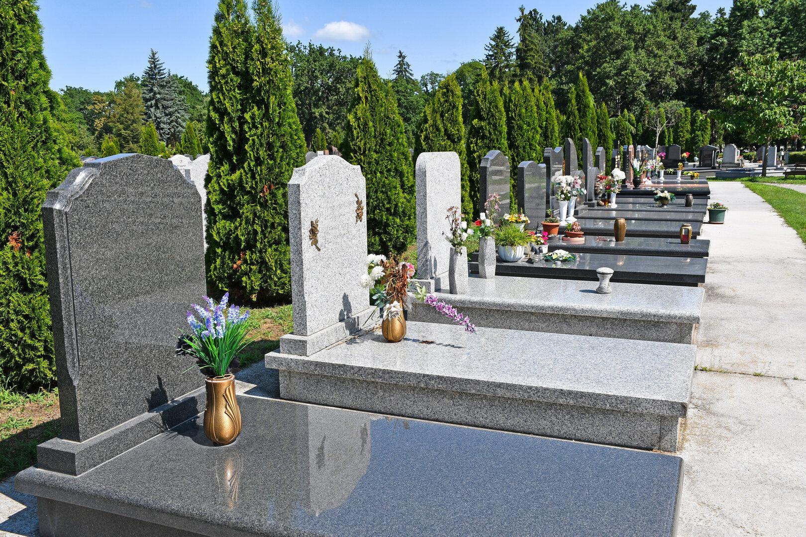 Cemitério com campas em pedra com jarros de flores. Ciprestes e outras árvores em segundo plano